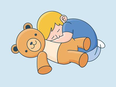 Friends 😴 vector drawing night sleeping teddy bear kid digital design uidesign flat illustration sleep