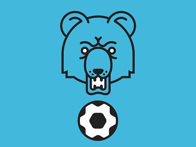 Bear Squad ⚽️ ball soccer blue team squad football bear branding flat icon logo flat  design design vector ui design illustration