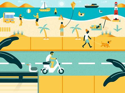 Beach Scene 😎☀️ art vectorart poster graphic day sunny motorbike dog palm ocean ostsee sun beach sea web flat ui vector design illustration