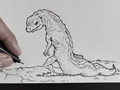 Bad Guy Salamander 🦎 inktober2019 inktober ink drawing ink monster godzilla dragon lizard salamander drawing illustration