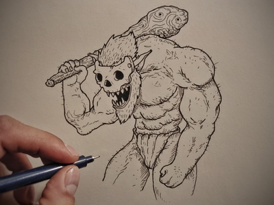 Ogre 💀 art ink art comic moleskine sketch drawing ink drawing ink monster oaf ogre illustration