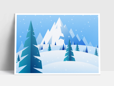 Christmas Card ❄️🎄 graphic trees mountains snow landscape advent illustration design flat card christmas