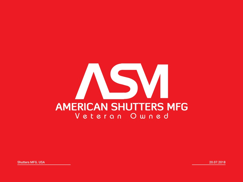 American Shutters MFG monogram logo free shutter logo shutter manufacturer steel company door company window producer shutter logo shutter branding shutter brand iron company
