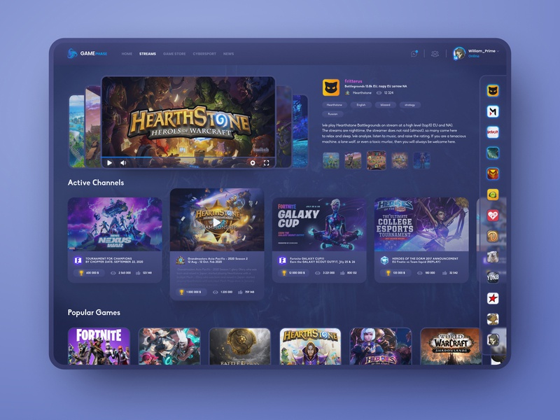 Game streaming portal (Dark) tournament ui design game design cybersport video game network world of warcraft steam blizzard dark theme fortnite hearthstone twitch esport stream game dashboard figma app uiux