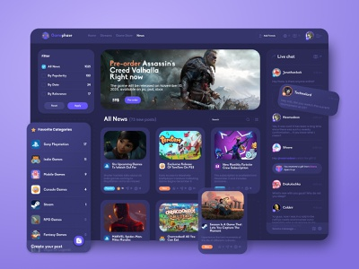 Game portal - News page blizzard dashboard figma discord twicth spiderman marvel fortnite esport network chat blog website sony playstation steam stream ux ui game news