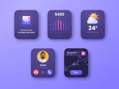 Apple Watch Ui Kit dark theme figma neomodeon sun weather icon weather message incoming call call steps shedule navigation menu navigation map design ux  ui dark mode ui kit apple watch