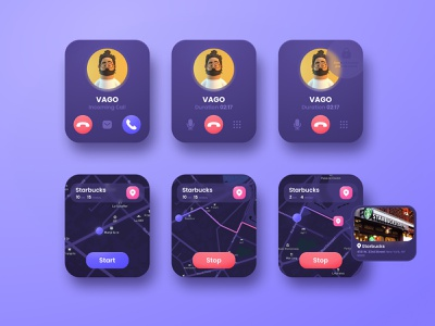 Apple Watch Ui Kit Calls and Geolocation figma dark app map navigation menu geolocation call ui kit mobile app product design neomodeon apple watch ui ux