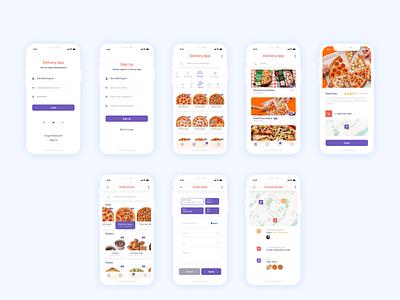 Mobile food delivery application mobile design ui app illustration dashboard