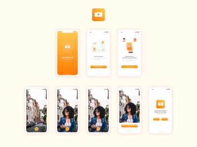 Mobile application of street photo booth illustration mobile app ux designer design logo uidesign