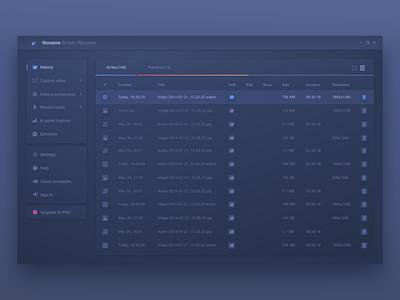 Screen Recorder App design sheets database user experience user interface recording game dashboard windows app uiux adobe xd