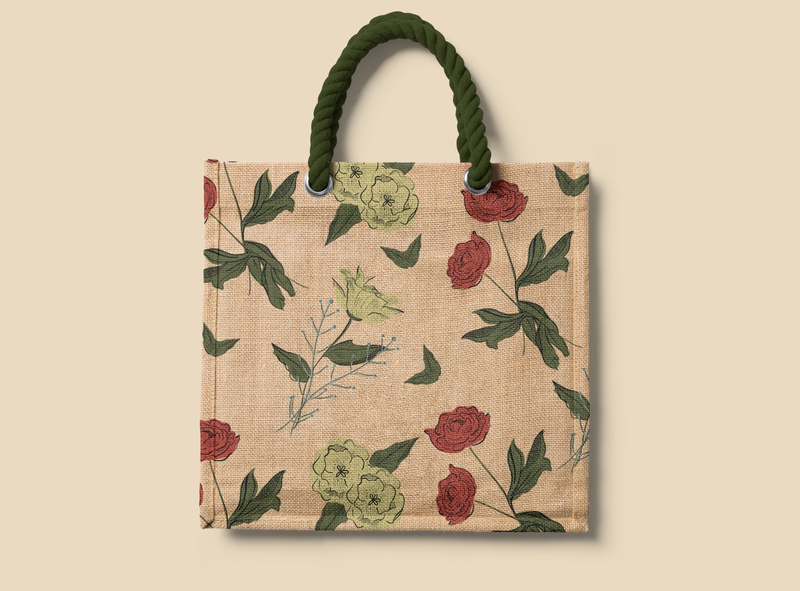 Be an Enthusiast in Life - Bag floral pattern floral procreate identity concept pattern illustration fun branding graphic design design