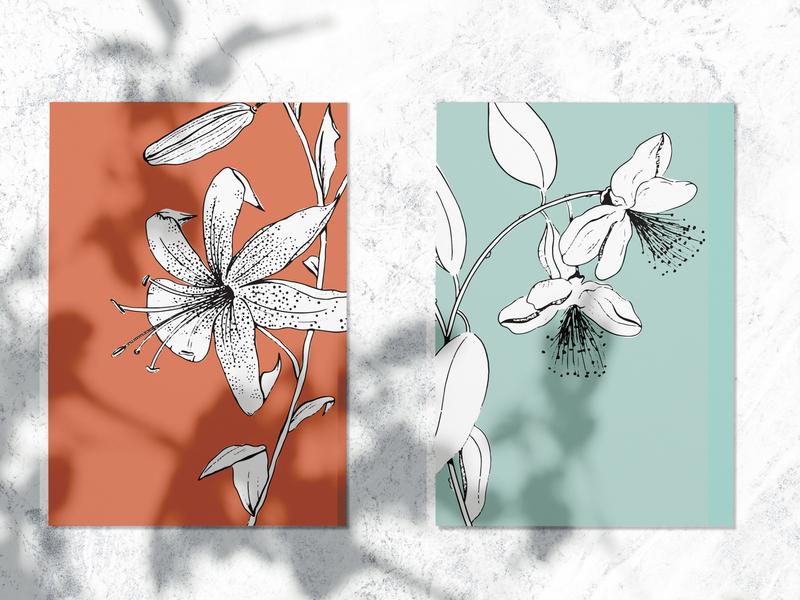 Inky Florals ipadpro postcards florals floral design prints procreate vector adobe illustrator illustration design