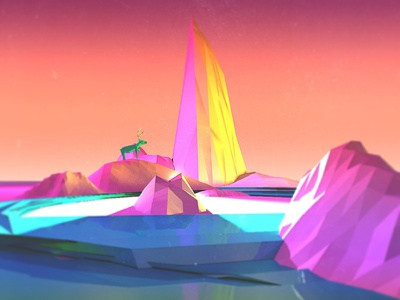 Tundra 3d c4d lowpoly landscape neon stag deer iceberg
