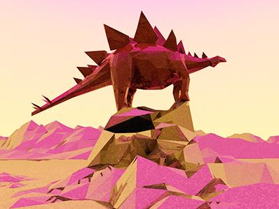 Stegosaurus II dino dino-a-day 3d c4d render lowpoly