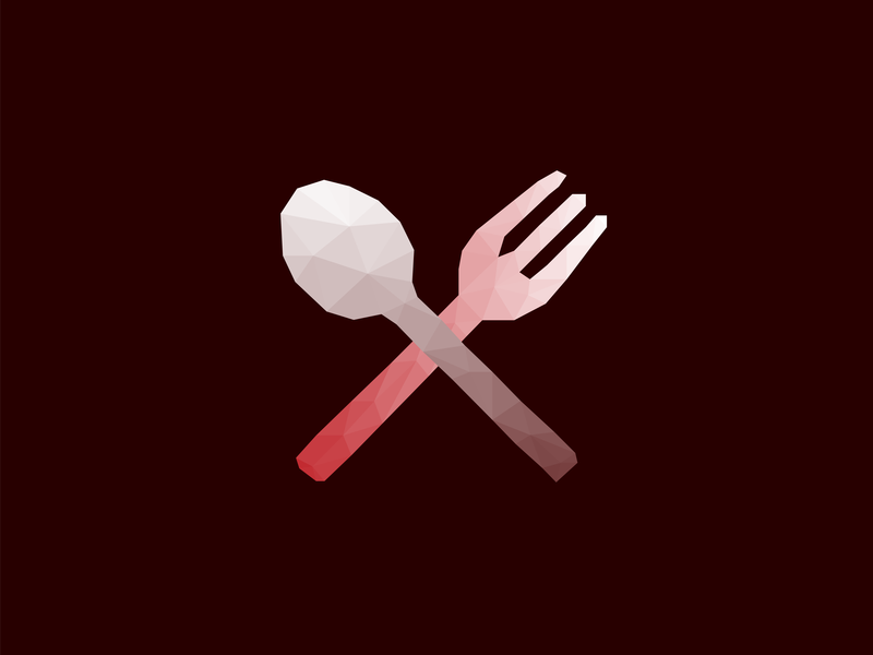 Low Poly Fork & Knife Icon cross vector triangle dinner dinnerware cutlery tableware food utensil culinary catering dining knife fork illustration flat lowpoly low poly gradient icon