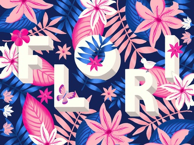 Flori vibrant colors typography art type custom letter flowers lettering design illustration