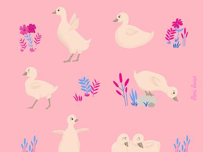 Adorable goslings animal pattern illustration flowers pink cute animals cute goose gosling