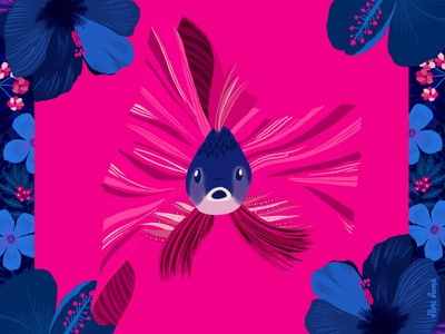 Ocean Spotlight procreate ipad pro digital artwork animal illustration floral illustration betta splendens pink background blue flowers floral pattern floral art fish vibrant colors illustration flowers
