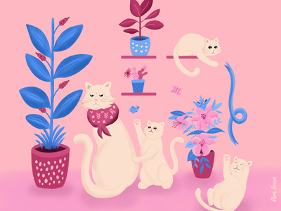 Grumpy cat and mischievous kittens butterfly botanical vegetation kittens kitties floral decorations ipad pro procreate adorable cute cat art cat family cat pink illustration flowers