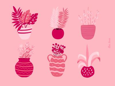 Plant pots flower pattern pot pattern flower illustration flower pots plant pots design pink floral art cute procreate ipad pro flowers illustration
