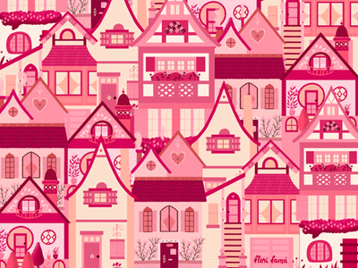 Pink Little Town surface pattern design pattern houses town pink cute procreate ipad pro vibrant colors illustration