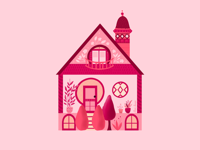 Home Pink Home cozy home house adorable pink design cute procreate ipad pro vibrant colors flowers illustration
