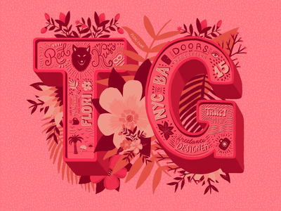 TG dimensional type dropcaps 3d letters dimensional lettering botanical typography type pink lettering floral art design procreate ipad pro vibrant colors flowers illustration
