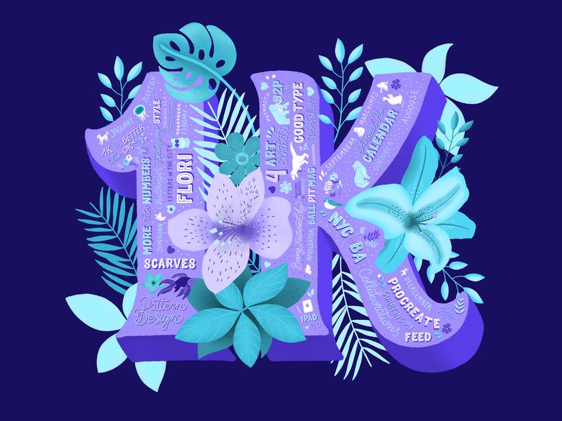 1K 3d letters lettering type typography floral art procreate design ipad pro vibrant colors flowers illustration