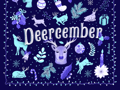 Deercember typography lettering design procreate ipad pro flowers vibrant colors illustration