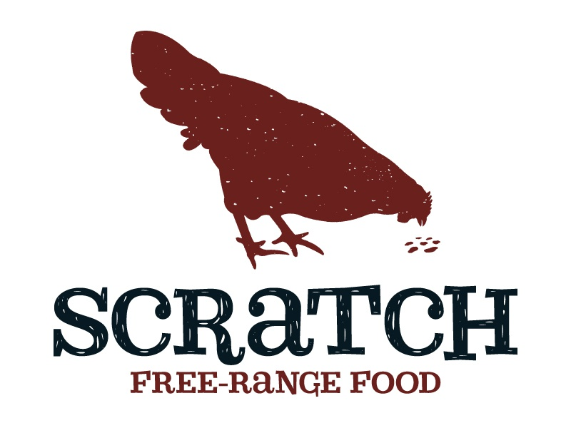 Scratch logo identity chicken mark brand food truck silhouette type
