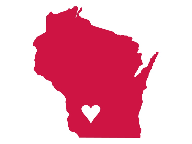 We love Wisconsin! red state heart wisconsin shitty barn button