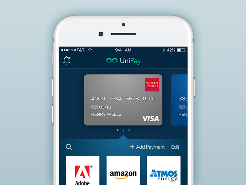 Unipay App credit cards ux design mobile design payment finance iphone ios sketch
