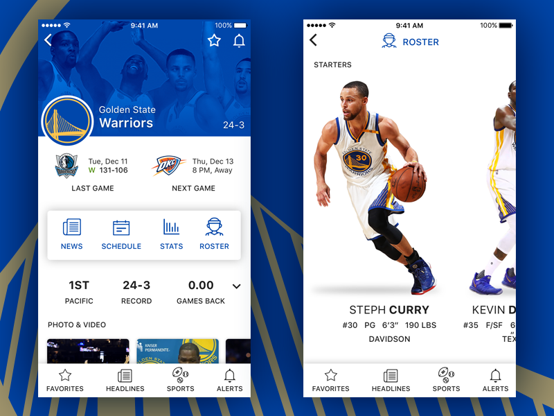 Sports App Concept kevin durant steph curry app ios design ux ui basketball golden state warriors sports