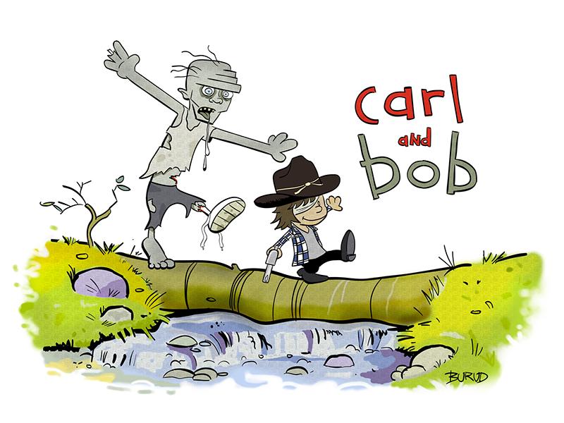 Carl And Bob (C&H/WD Mashup) zombies digital art walking dead illustration cartoons comics art calvin and hobbes