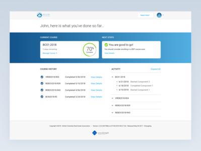 BCREA Learner's Portal Dashboard