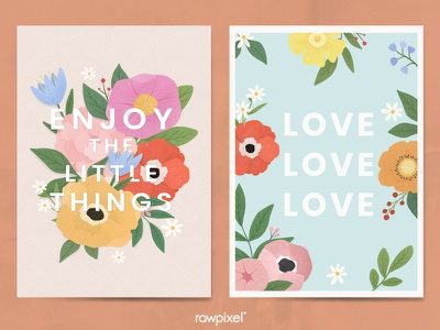 Colorful Flowers Vector Set colorful enjoy the little things foliage poster love motivational flower drawn beautiful cute graphic design illustration vector