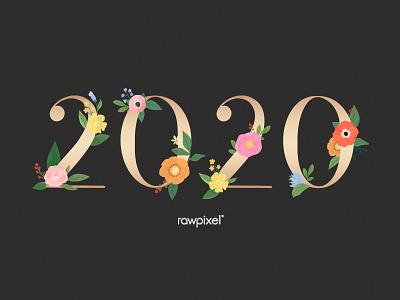 Colorful Flowers Vector Set typography element black 2020 celebration flowers flower beautiful cute graphic design illustration vector