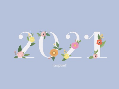 Colorful Flowers Vector Set happy new year typography template floral calendar ui blue flower beautiful cute graphic design illustration vector