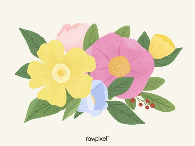 Colorful Flowers Vector Set leaf natural bloom flower beautiful cute graphic design illustration vector