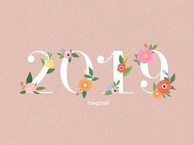 Colorful Flowers Vector Set calendar 2019 calendar design flowers typography flower beautiful cute graphic design illustration vector