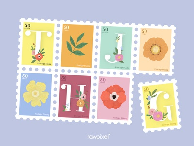 Colorful Flowers Vector Set stamps stamp typography flowers beautiful cute graphic design illustration vector