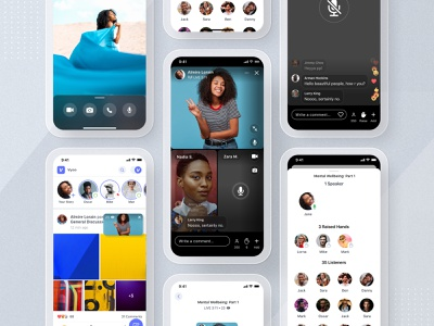 Vyoo: Live Conversations meeting room mute video camera streaming app collage story reaction comment community streaming stream conversation chat rooms live app mobile ui ux