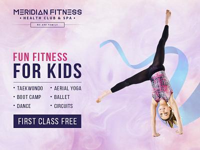 kids fitness gym banner flyer design kids gym