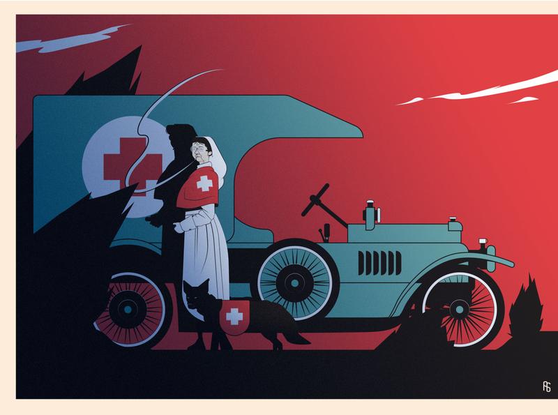 Old world war one - Old Nurse - CDC April 2020 old woman ww1 dark vintage nurse war character design character comics illustration
