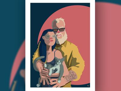 NICE COUPLE draw artprint poster love portrait characterdesign character cartoon cute couple comics illustration