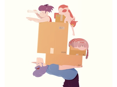 HOUSE MOVE -  STAY AT HOME DAD house move family dad parenting comics cartoon illustration cryptoart eth