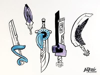 "INKTOKER 2020 - Day 05 ""Blade"" shape sword blade illustration sketchbook skech drawing draw inktober2020 inktober inking ink"