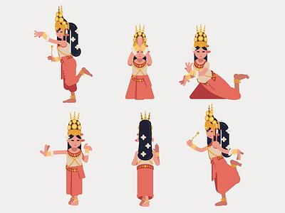 Khmer Apsara dance set - Flat Design folk flat-design cute culture character cambodia asia apsara dance khmer