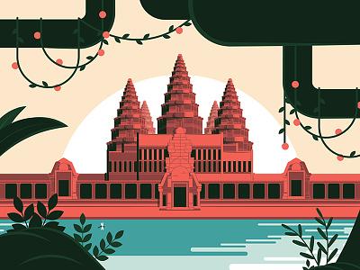Angkor Wat Temple, Hot Season - Flat-design unesco travel tourism temple siem reap landmark civilization khmer cambodia asia ancient angkor wat