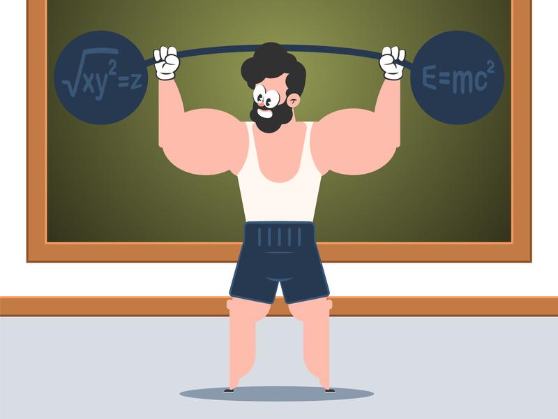 Mathematics exercices Cartoon character teacher learning illustration bodybuilder flat design humor school muscle mathematics exercices character cartoon